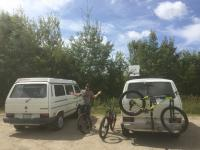 Twin white vans