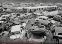"""Beetles in junkyard scene """"Freeway of Love"""" video (1985)"""