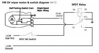6V wiper wiring with SPST switch