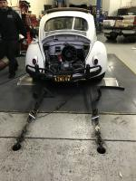 1961 ragtop strapped down at westech Dyno
