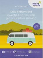Scottish Friendly Asset Managers leaflet featuring split-screen VW Type 2