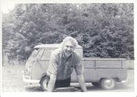 Man and early bullet-nose Double Cab