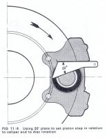 Aligning caliper piston.