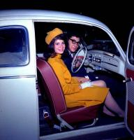 Vintage photo - couple in 1960's Beetle