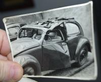 Vintage photo - crashed standard Zwitter sunroof Beetle