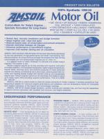 Amsoil synthetic engine oil - 1991/92 product data