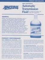 Amsoil synthetic automatic transmission fluid - 1991/92 product data