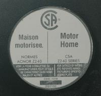 Decal - Canadian Motor Home CSA