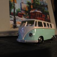 Lowered and painted a toy Bus