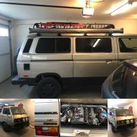 van in garage