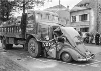 Split window Beetle wreck - vintage photo