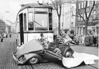 1950's convertible Beetle wreck - vintage photo