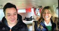 Jimmy Fallon and his wife Nancy in their bus.