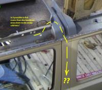 Wire from Westy cargo rack down the driver door rear pillar to below sink