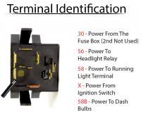 super beetle headlight switch terminals