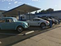 1971 Super Beetle with a gaggle of Porsches