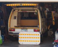 Van with safety tape