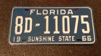 1966 YOM Florida License Plate Tag