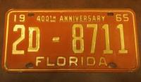 1965 YOM Florida License Plate Tag