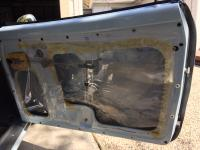 Plastic water shield in Karmann Ghia door