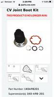 Tiguan cv boot kit 1K0498201 (NLA ! )