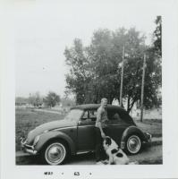 Convertible Beetle and dog photo from May, 1963