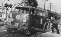 Hyrail bus on Long Island RR