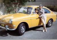 Polly Ober and Ginger Mercer with a new yellow Volkswagen 412 Fastback.