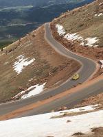 bus climbing Pikes Peak in Colorado