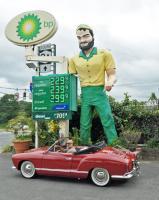 rbfara in his Paprika 1960 Ghia Cabrio, MufflerMan statue, Elmsford NY
