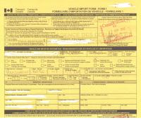 Form 1 for importing vehicles to Canada