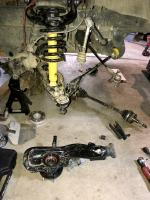 Vanagon Syncro steering knuckle removed
