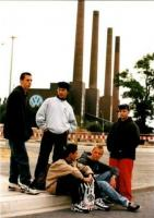 Kids hanging out at the VW Factory