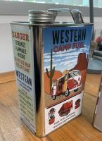 Retro style coleman fuel can label westfalia