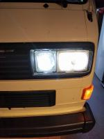 LED H3 high beam bulbs & acrylic headlight protectors