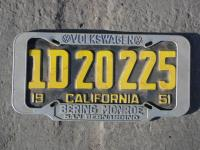 Very Rare 1955 and earlier VW dealer license plate frame