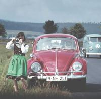 Vintage photo - 1960's Beetle, Panel Bus & girl with camera