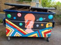 Ziggy Stardust only likes cardboard at Music Millennium, Portland, Oregon