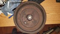 Backside of red brake drum