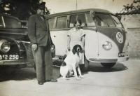 Early Brown/Brown Barndoor Standard with dog