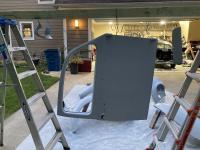 Painting and sanding 1964 beetle fenders doors etc