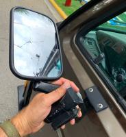 broken land rover mirror