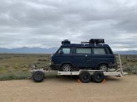 Dead Vanagon at home on a trailer