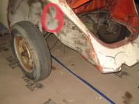 Rear area that will break spot welds in an accident.