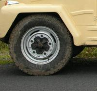 a wheel from an early VW Type 181