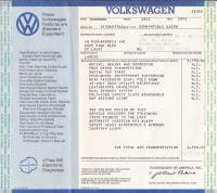 Original 1973 VW Thing (Type181) Window Sticker