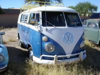 Blue and White Camper