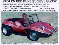 Front View of Stolen dune buggy.