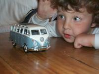Nacho jr. and his first vw toy!!