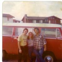 an oldie picture from 1976...70's bus...70's girl